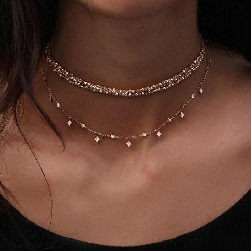 Złoty choker naszyjnik krótki wielowarstwowe koraliki Tassel kobiety naszyjniki i wisiorki kryształ gwiazda Chokers biżuteria A251