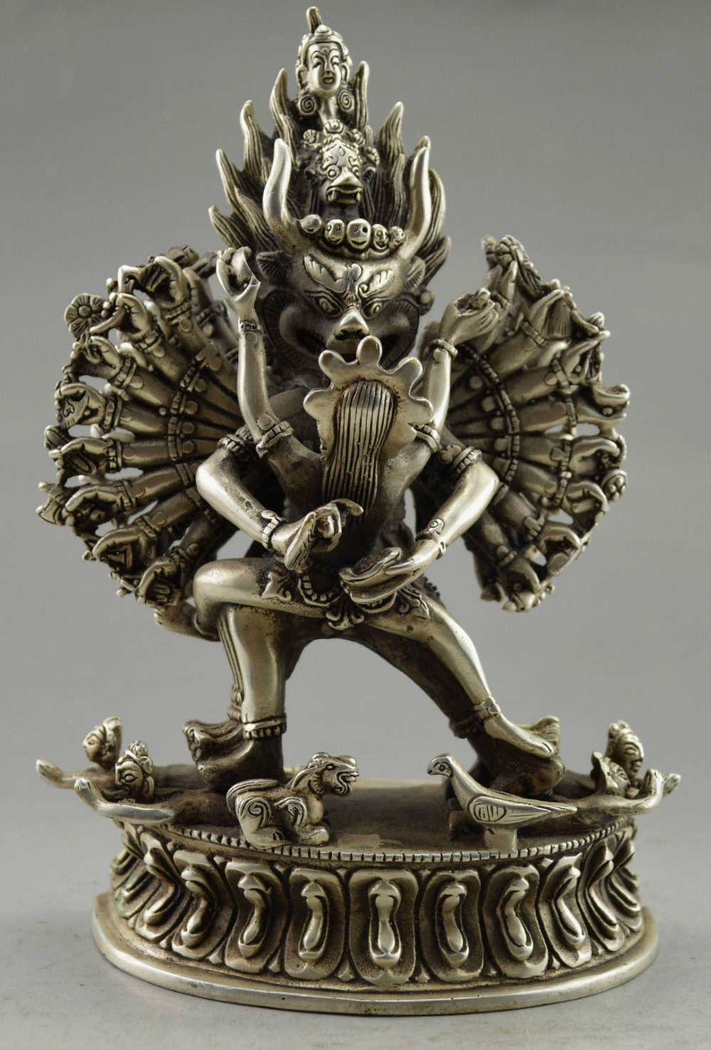 Elaborado collectible decorado antigo handwork tibetano prata yamantaka estátua de buda escultura