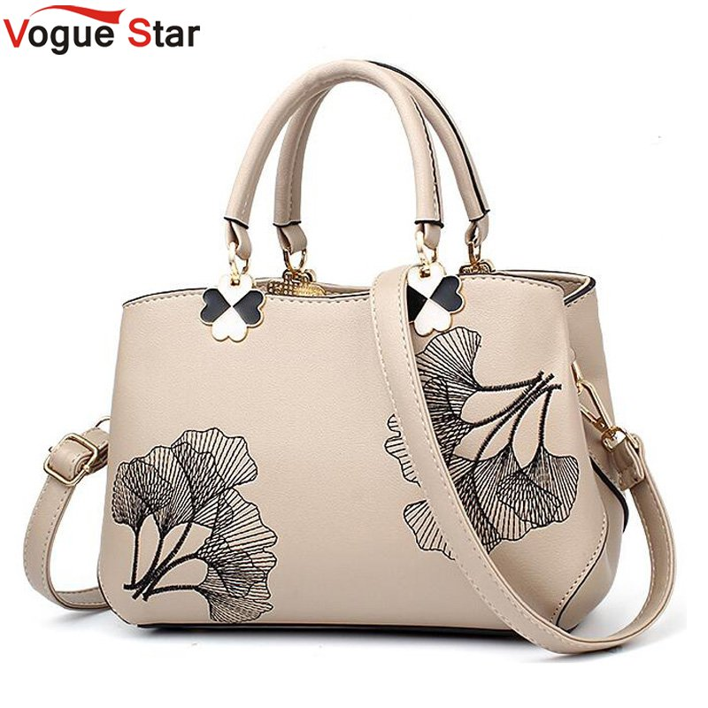 Women Leather Handbags Women Shoulder Bag Women Embroidery Flower Tote Bag Female Ladies Hand bags Women Messenger Bag LB341