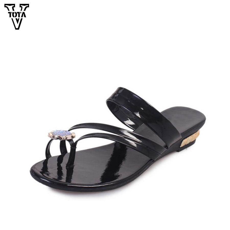 2017 Fashion Flip Flops New Summer Shoes Woman Platform Sandals Women Wedges Slippers Woman Rhinestones Flat Beach slippers  Q86 phyanic 2017 gladiator sandals gold silver shoes woman summer platform wedges glitters creepers casual women shoes phy3323