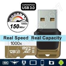 150 MB/S 1000x Tarjeta MicroSD 32G microSDXC microSDHC Class 10 de 64 GB 128 GB TF Tarjeta de Memoria para Quadcopter Drone Aérea Cámara Tablet