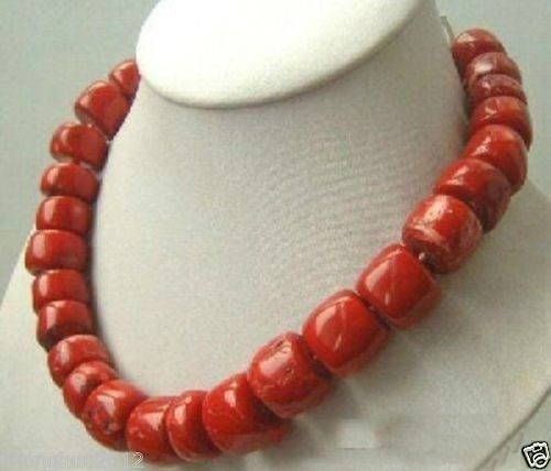 FREE SHIPPING>>>@@ SA Fashion natural Red Coral Necklace large beads 18""