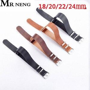 Ремешок для часов MR NENG из искусственной кожи ZULU, коричневый, черный, 18 мм, 20 мм, 22 мм, 24 мм