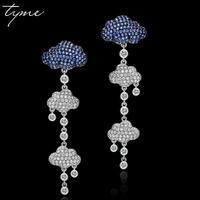 Tyme Fashion Silver Color Needle Earrings For Women Cloud Style Long Tassel Earring Femme White Blue