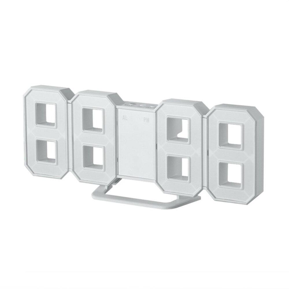 8 Shaped LED Display Digital Table Clocks Thermometer Hygrometer Calendar Weather Station Clock flip relojes de pared casa retro