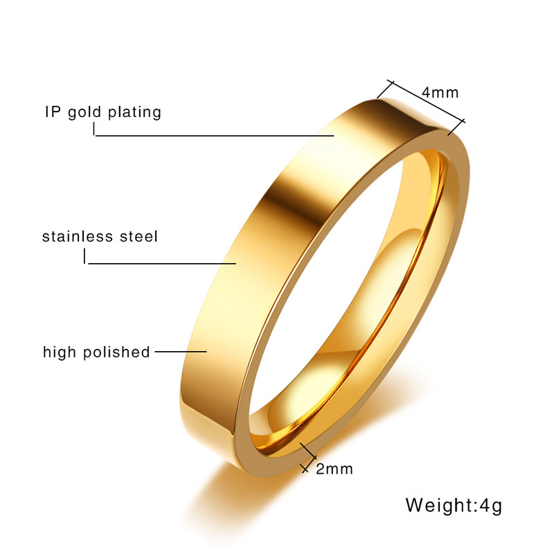 Vnox Classic 4mm Unisex Ring Stainless Steel Simple Alliance for Women Men Trendy Jewelry Rose Gold Color Wedding Band