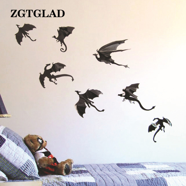 zgtglad 7pcs/lot gothic dragons wall sticker game of thrones