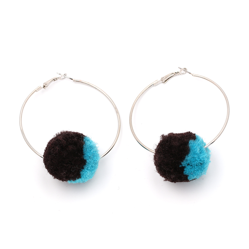 JURAN 2018 Exaggerate Vintage Big Hoop Earrings for Woman Punk Cotton Ball Charm Largr Statement Earring 7 Colors brinco O2502