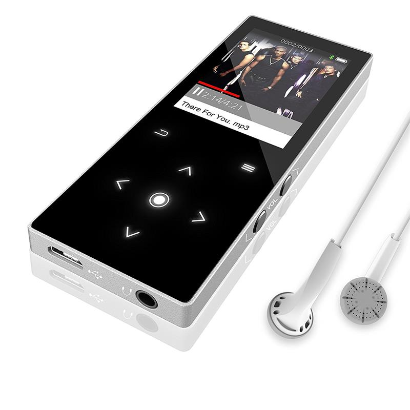 16GB Bluetooth mp3 player Built-in Speaker Touch Screen Ultra thin Music Player 1.8 Inch Color Screen HiFi Sound Video Player