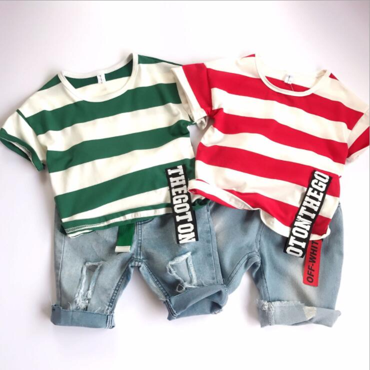 2PCS Toddler Kids Baby Boy Summer Clothes Short sleeved striped T-shirt + denim shorts Hot Pant Outfits Casual Clothing Set 6