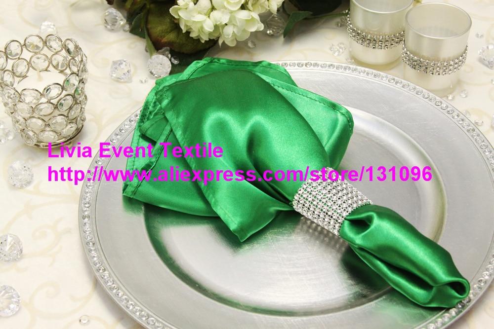 100pcs #85 Kelly Green Satin Napkin 45x45cm ,Table Napkin For Weddings Events &Party&Restaurant &Hotel