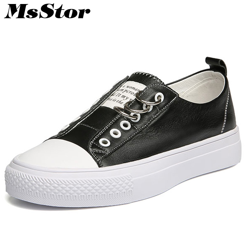 MsStor Round Toe Slip On Women Flats Casual Fashion Metal Decoration Ladies Flat Shoes 2018 New Spring Women Flats Brand Shoes beyarne hot sale new fashion spring women flats shoes ladies bow pointed toe slip on flat women s shoes free shipping size34 40