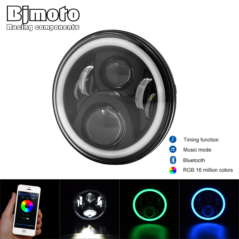 "Phone Control RGB 7"" H13 <font><b>LED</b></font> Halo Headlights Kit H4 Hi/low Auto Headlight With Angle Eye For Jeep Wrangler JK <font><b>TJ</b></font> Hummer Defender"