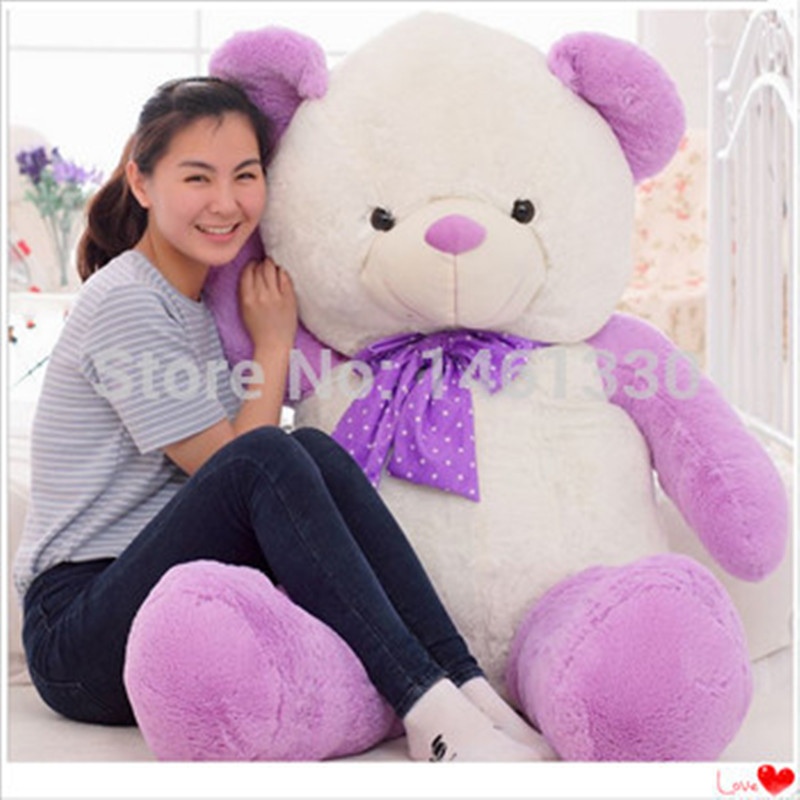 Teddy bear plush valentine's day purple teddy bears giant stuffed bear toys girls birthday christmas gift soft toy kids toys kawaii 140cm fashion stuffed plush doll giant teddy bear tie bear plush teddy doll soft gift for kids birthday toys brinquedos