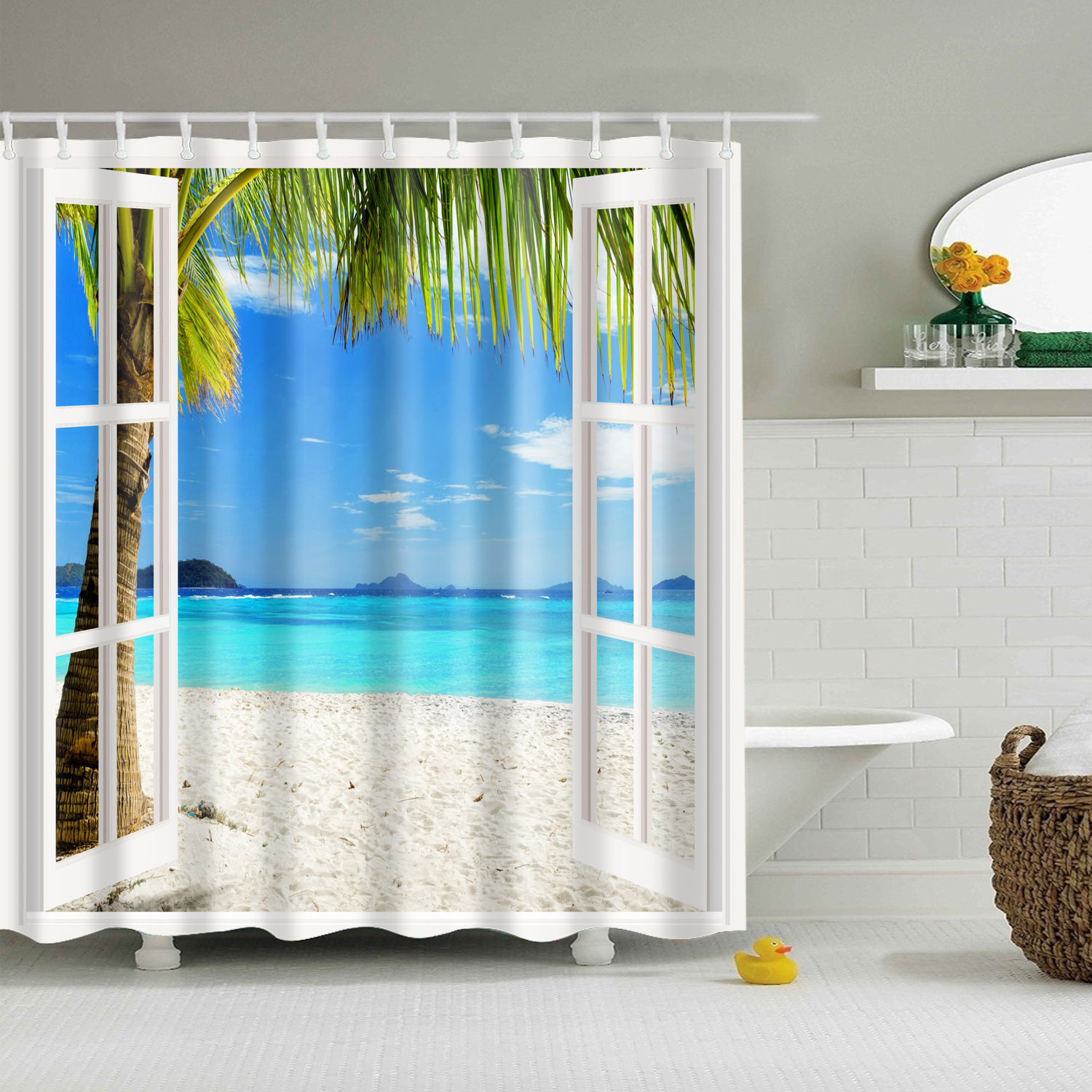 Palm tree and tropical beach Shower Curtain Bathroom Fabric /& 12hooks 71*71inch