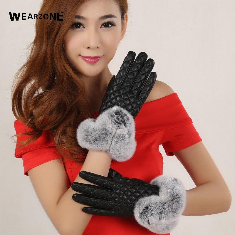 2017 nouveau chaud élégant fourrure de lapin en cuir véritable gants pour gants d'hiver diamant treillis marque mitaine femmes gants