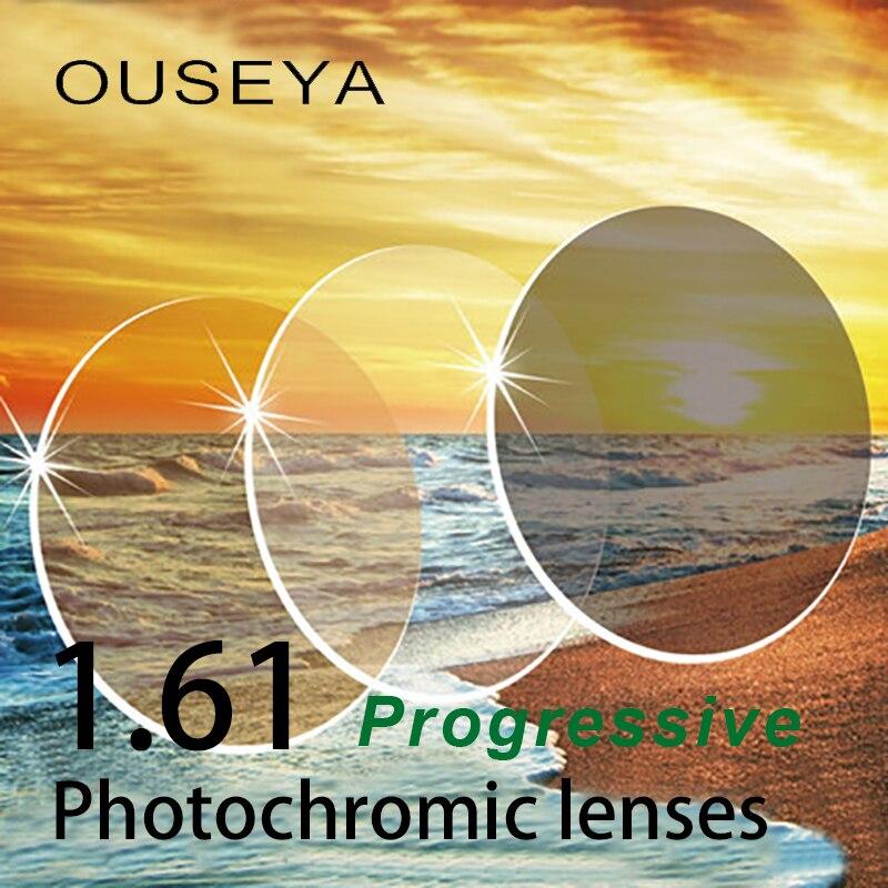 1 61 Multifocal Progressive Photochromic Grey Brown Aspheric Prescription Resin Lenses Anti UV Oil Water Reflect