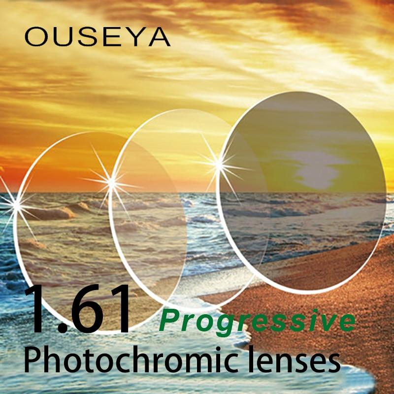 Lentes de resina de prescripción asférica gris/marrón fotocrómico progresivo Multifocal de 1,61