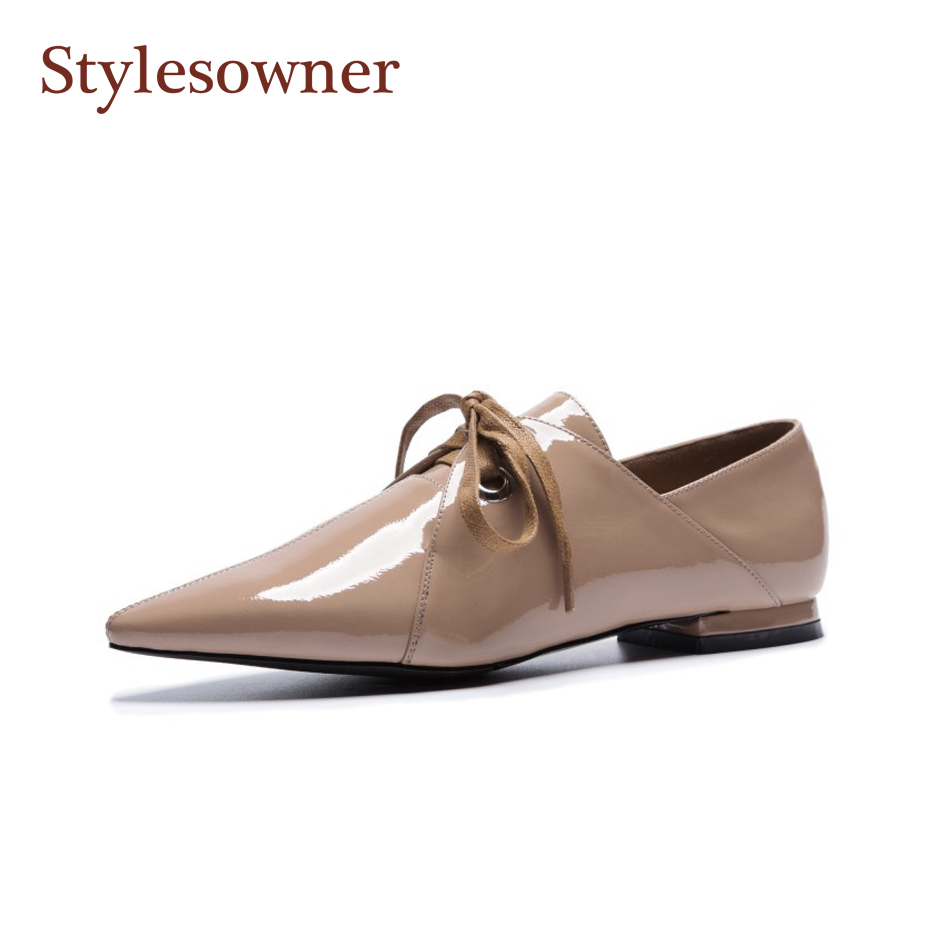 Stylesproprio chaussures richelieu femmes cuir verni bouche profonde bout pointu chaussure plate noir Nude Riband chaussures à lacets mode automne chaussure