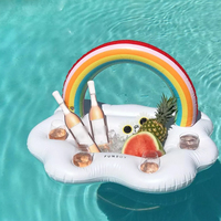 Inflatable Rainbow Cloud Swimming Pool Float Ice Bucket Cup Holder Beer Drink Table Bar Tray Summer Party Toys Beach Accessories