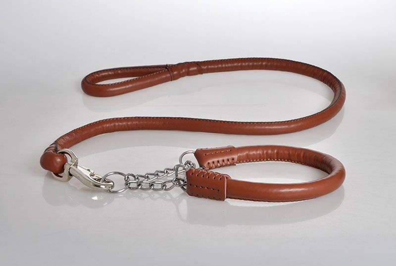 G59 Hot sale Pet dog PU leather P chain collar and leashes set 120CM Soft leather Walking Safety Lead Traction for Large Dogs