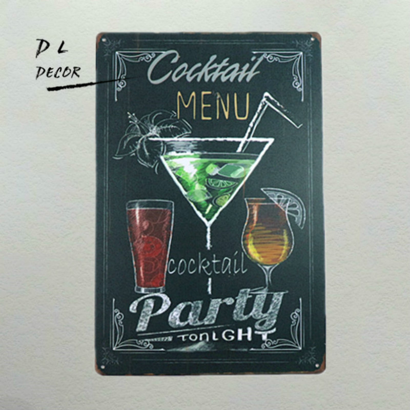 DL-Cocktail Menu Rétro en métal En Aluminium Signe Cocktail Man Cave pub clubs Bar Kitchen Party