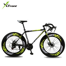 New Road Bicycle Carbon Steel Frame 700CC Wheel 21/27 Speed Dual Disc Brake