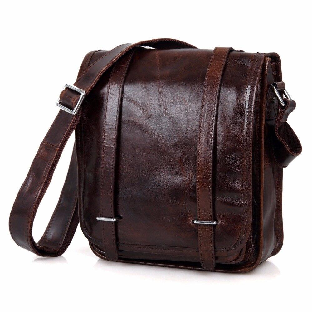 Real Vintage Leather Unisex Dark Coffee Shoulder Messenger Bag Crossboday Purse Sling Bag For Men 7109C