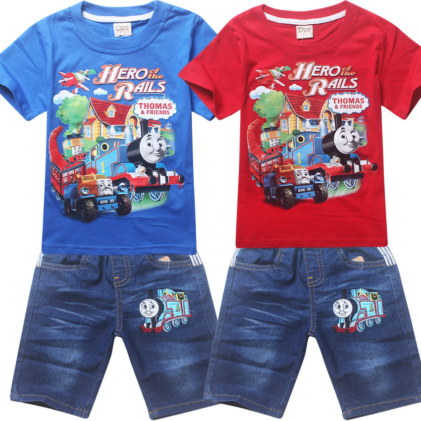 roblox train fashion designs boys clotheing Set kids wear carton picture boys cloth t-shirt and boys casual suits hot cartoon