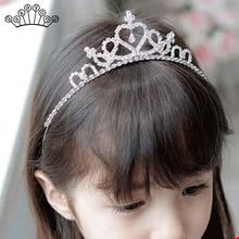 Lindo niños Tiaras y coronas niña princesa Crystal boda joyería oro plata  Color diadema cumpleaños fiesta regalo cbae7c674df9