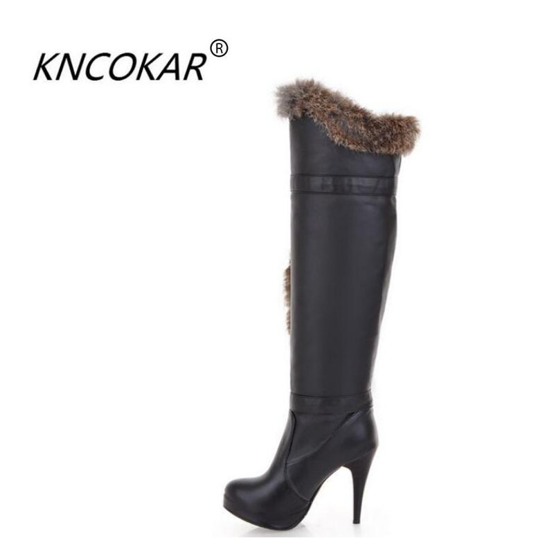 2017 winter fashion Waterproof platform boots high heel female winter over knee boots long boots rabbit boots size 34 39
