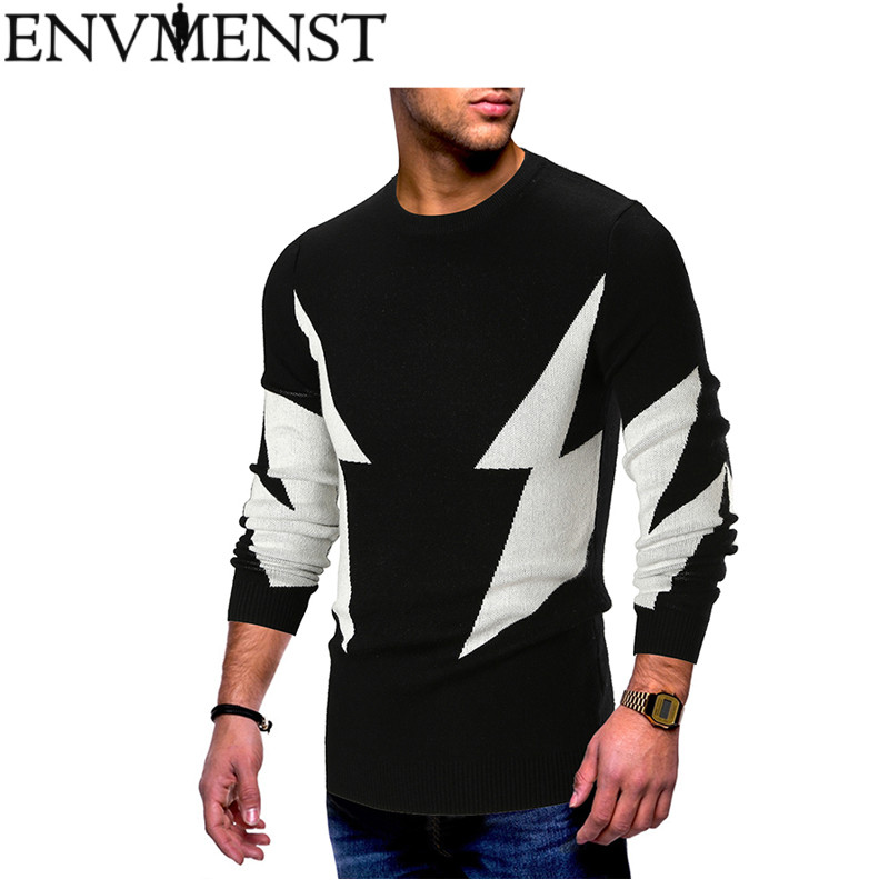 Envmenst Autumn Winter Men Sweaters 2 Colors Patchwork Knitted Pullover Sweater Man's O-neck Slim Knitwear Pullovers