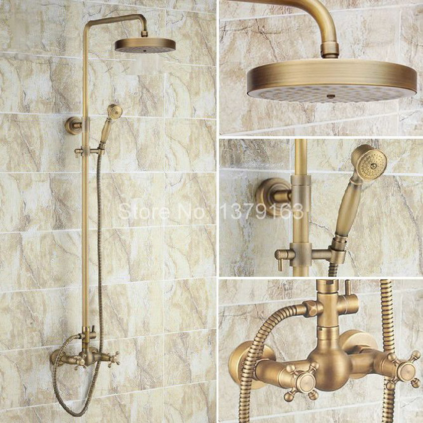 Antique Brass Two Cross Handles Bathroom Rain Shower Faucet Set Mixer Tap + 7.7 Round Rain Shower Head + Handshower ars091