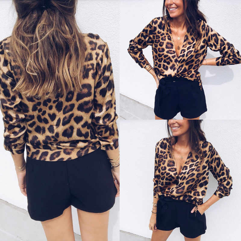 ee58219bb201c8 2018 Fashion Womens Leopard V Neck Elegant Tops Bodycon Low-cut Long Sleeve  Blouse sexy