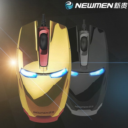 free shipping original Newmen <font><b>Iron</b></font> <font><b>Man</b></font> <font><b>Blu-ray</b></font> gaming mouse wired mouse USB laptop mouse