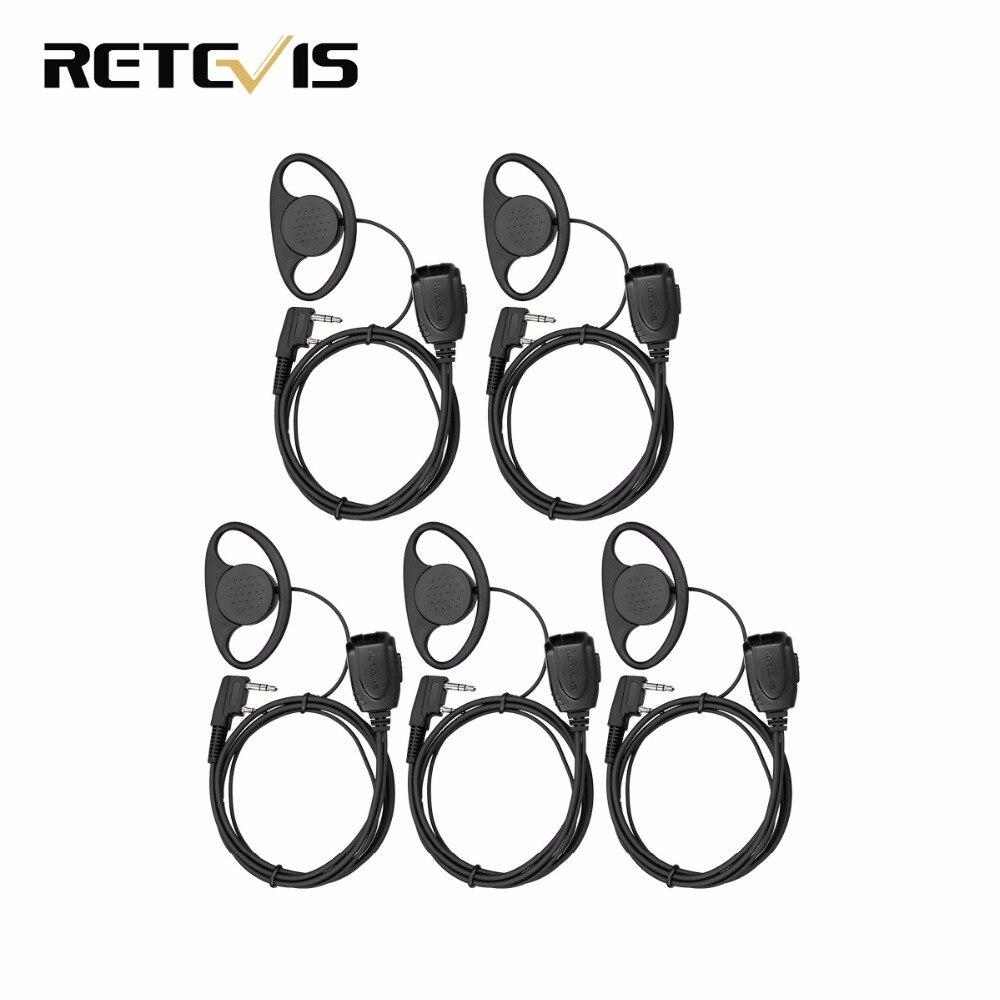 5pcs Retevis RE-3224 D-type Earhook Earpiece For Retevis H777/RT22/RT24/RT3/RT81/RT21 Ham Radio Walkie Talkie C9056A