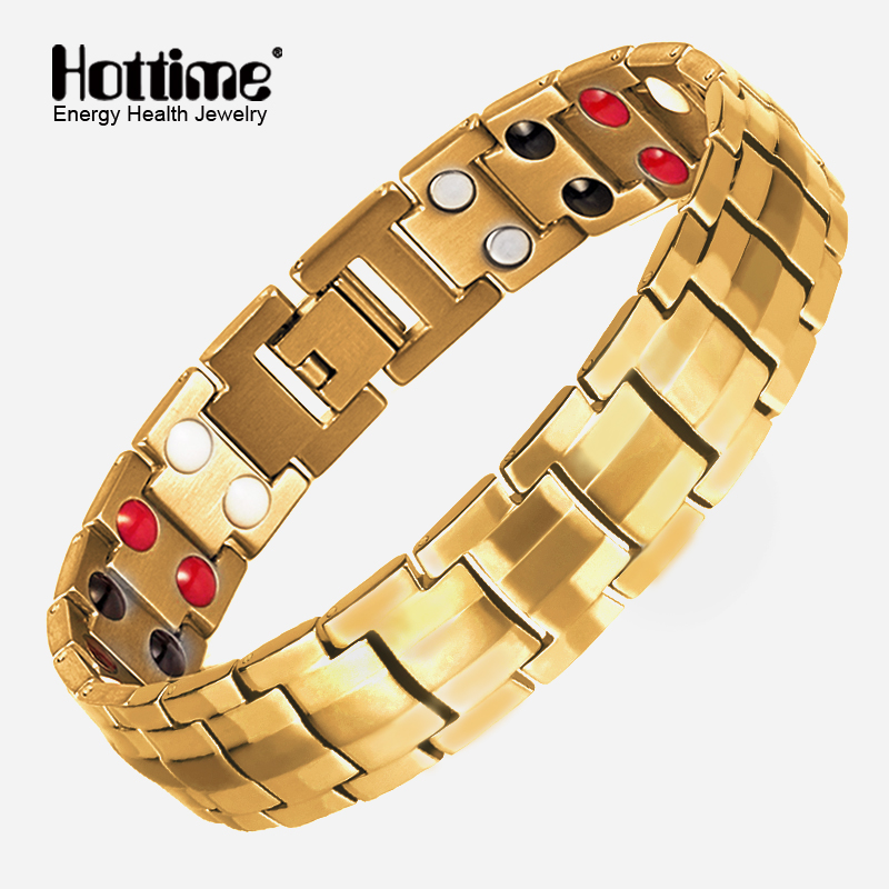 все цены на Hottime Fashion Jewelry Health FIR Magnetic Titanium Steel Bio Energy Bracelet For Men Blood Pressure Accessory Golden Bracelets