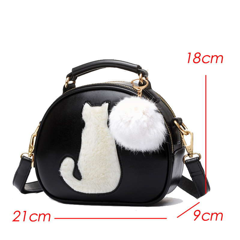Hairball Pendant Cute Cartoon Small Cat Top Handle Handbags Tote Bag For  Women Girls Shoulder Bags Messenger Crossbody Bags-in Shoulder Bags from  Luggage ... 1a3e1040a5ee3