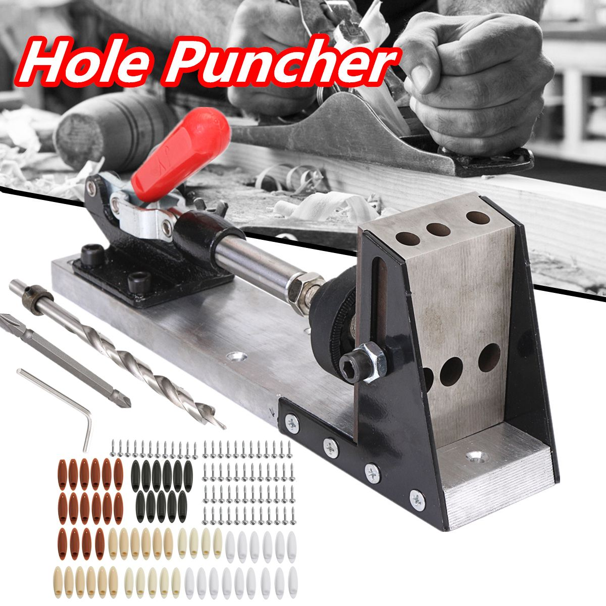 цена на High Quality Woodworking Tool Pocket-Hole Puncher Jig Drill Guide Master Kit Carpenter Joinery System Woodworking Plug Cut Tool