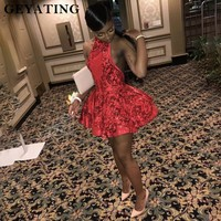 Сексуальная Холтер спинки Красный Короткие Выпускные платья для черный обувь девочек блёстки Африканский Выпускной платье 2019 вечерние мин