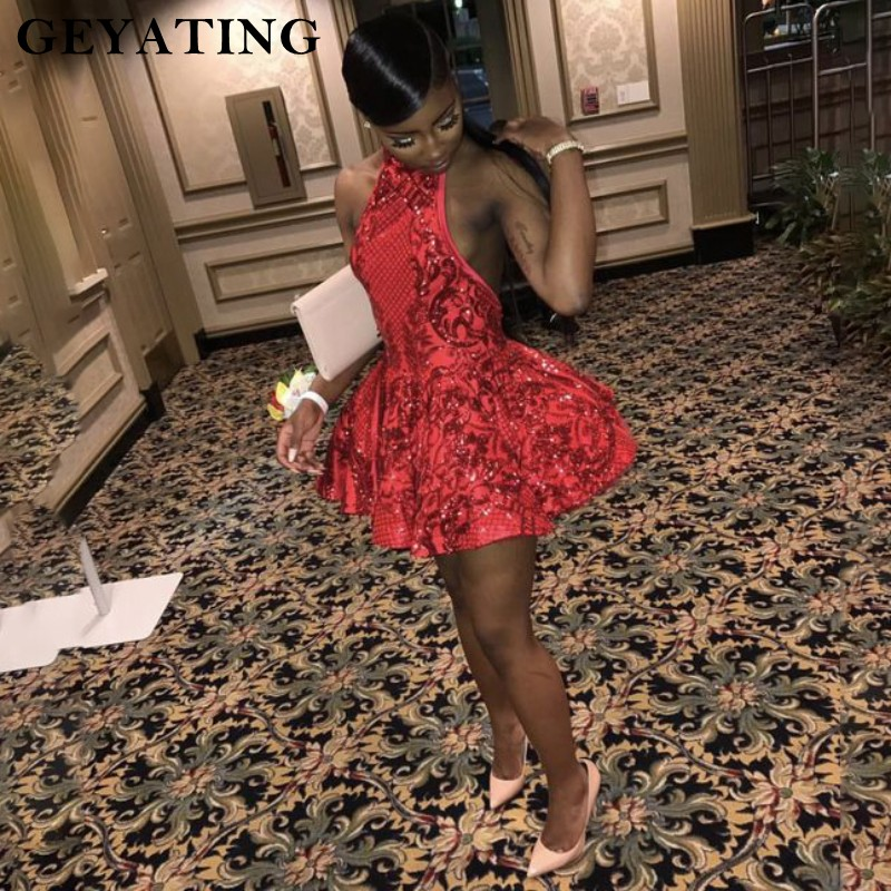 Sexy Halter Backless Red Short   Prom     Dresses   for Black Girls Sequins African Graduation   Dress   2019 Mini Cocktail Party   Dress