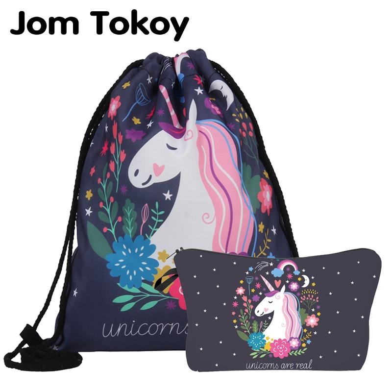 Jom Tokoy  New Fashion 2 PCS Printing Women Backpack Unicorns School Backpacks Bag Set Combination ASH1001