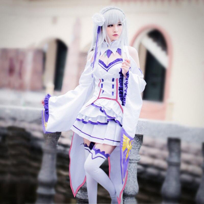 Эмилия косплей костюмы ноль японское аниме Re Zero кара Hajimeru Isekai Seikatsu одежда Хэллоуин костюмы