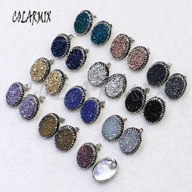 10 pairs stud druzy earrings egg shape earrings mix colors imitation druzy wholesale jewelry gems jewelry for women 7022
