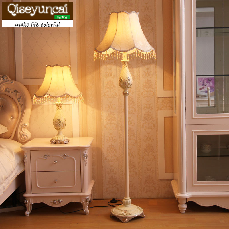 Qiseyuncai European floor lamp living room retro rural garden vertical table lamp creative study bedroom bedside lamp