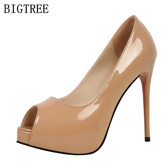 2018 de charol peep toe plataforma zapatos mujer diseñador marca de lujo  bigtree zapatos boda suela 9321213dccbc