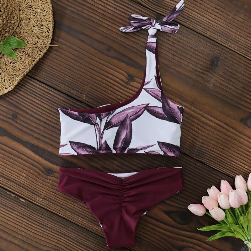 New One Shoulder Leaves Print Bikini 12