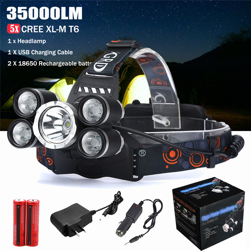 Outdoor 35000LM 5x CREE XM-L T6 LED Headlamp Headlight Flashlight Head Lamp 18650 Camping Cycling Bicycle Bike Front Light M25 18000 lumens bike headlamp flashlight 9x cree xm l2 led bicycle light cycling helmet headlight 18650 battery pack charger