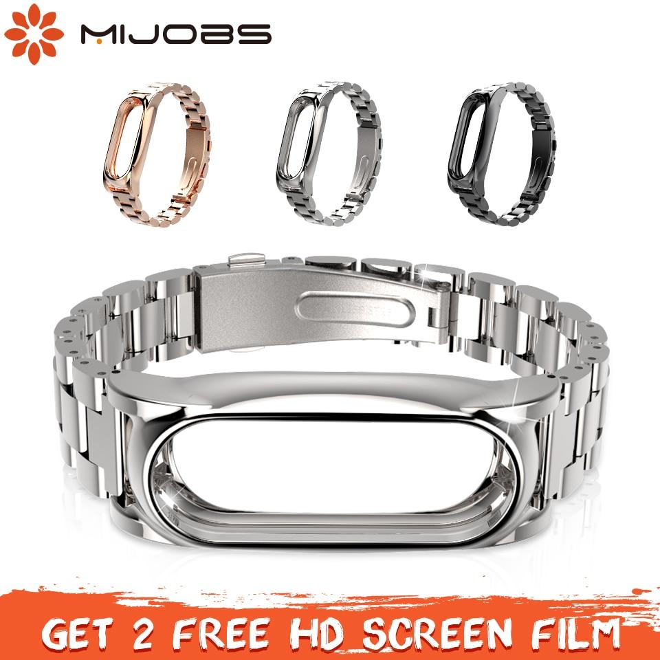 Mi emplois En Métal Sangle Pour Origine Xiao mi mi Bande 2 Bracelet En Acier Inoxydable Bracelet Bracelets Remplacer Accessoires Pour mi bande 2