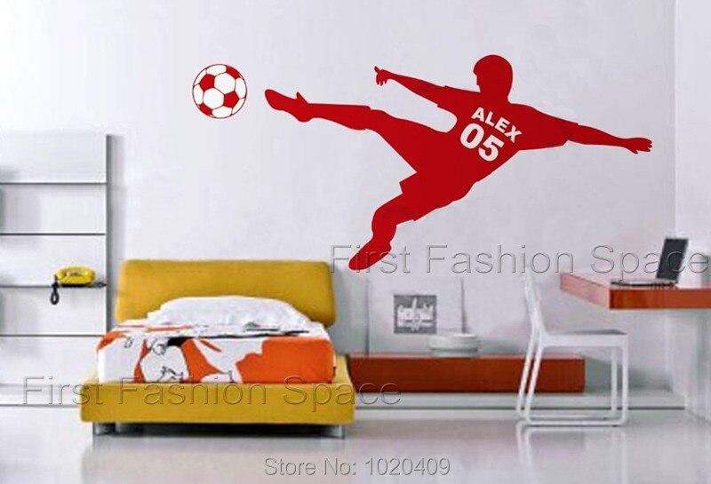 L102 fotbal Fotbalový míč Personalizované jméno a číslo Vinyl Wall Wall Decal Poster Wall Art Children Wall Sticker Kids Room Decor